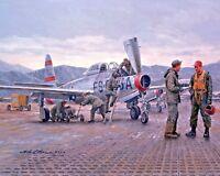 USAF F-84 Thunderjet Fighter Bomber History War Art Painting Real Canvas Print