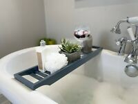 Whittle & Stone Luxury Bamboo Bath Caddy Storage Holder Tray - Grey