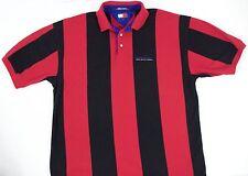 VINTAGE 90S TOMMY HILFIGER MENS POLO L FLAG BLACK RED STRIPE