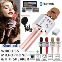 Wireless Microphone Handheld Karaoke Mic KTV Player Bluetooth Speaker+Pop Filter