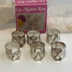 Vintage silverplate napkin ring set with bows  6 pieces in box no 6037