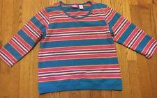 Pappogallo Sport Petite PL Cotton Blend 3/4 Sleeve Multi-Color Striped Top 253