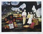 Rare Blue Dog Artist George Rodrique's Roadside Market (1984) Signed Print