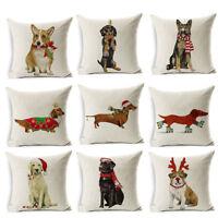 ALS_ Christmas Dog Linen Cushion Cover Throw Pillow Case Sofa Bed Home Decor Hea