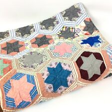 6 Point Star Quilt Hand Sewn Twin Size Patchwork Multicolor Cotton Country