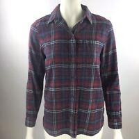 MADEWELL Red Blue Plaid Boyfriend Long Sleeve Cotton Button Up Shirt Women's S