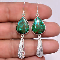 Feather - Azurite In Malachite 925 Sterling Silver Earrings Jewelry SDE11702
