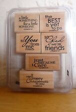 2008 Stampin Up BEST YET 6pc RUBBER INK STAMP SET Frienship Love Christmas