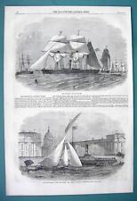 1858 Woodcut Engraving - Brazil Gun Boat Fleet & London Yacht Club Race