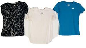 3 (THREE) YTH UNDER ARMOUR FITTED HEAT GEAR S/S TEES - YLG