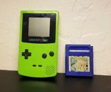 NINTENDO Game Boy Color + Pokemon Blue Bundle (Kiwi Lime Green) NO BATTERY COVER