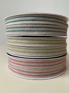 French Linen Striped Trim Ribbon Rustic Wedding 11mm wide  - sold by the metre