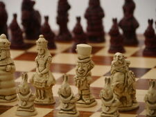 Alice in Wonderland Chess Set - Ivory and Red-By Berkeley Chess