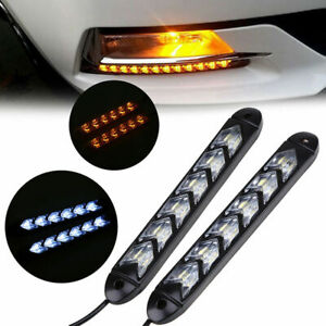 2Pcs Car Flowing LED Strip Light Arrow Flasher Dynamic DRL Turn Signal 3 Color