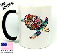 Sea Turtle, Birthday Christmas Gift, Black Mug 11 oz, Coffee/Tea