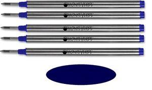 5 Monteverde Rollerball Refills For Montblanc Pens, DARK BLUE Medium, M23