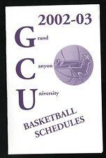 2002-03 Grand Canyon Antelopes Basketball Schedule