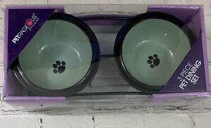 "PETRAGEOUS DOG FEEDER 3 Piece Set 2 6"" Bowls+ Steel Frame Raised Pet Feeding"