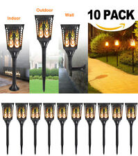 10 Pack Solar Garden Tiki Torch Lights 96 Led Flickering Path Dancing Flame Lamp