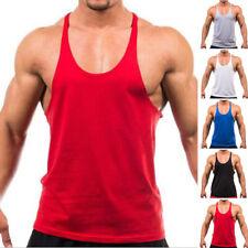Uomo Canottiera Palestra Bodybuilding Muscolo Camicia Fitness Workout Canotta M