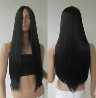 Women Long Straight Wigs Heat Resistant Hair Synthetic Wig Hair Wig Black Wig US