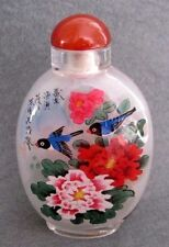CHINESE INSIDE HAND PAINTED Happy Lucky Birds Peony Flowers SNUFF BOTTLE