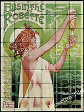 24x32 Privat Livemont, ABSINTHE  Art Deco Tumbled Marble Tile Mural