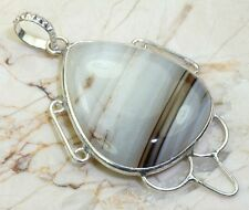 EXQUISITE FANCY ONYX .925 SILVER DESIGNER PENDANT - 2 INCHES