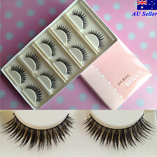 5 Pair Natural Long Thick Soft Black Fake False Eye Lashes Hand Made Makeup