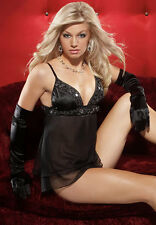 Sexy Lingerie Coquette Black Chiffon & Satin Babydoll w Thong Size Small