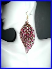 New Basketball Wives Inspired Gold Earring Leaf ,White & Black ,Pink Appr. 4.5'