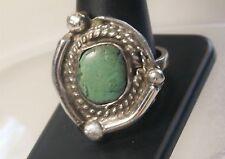 Southwestern Rough Hewn Artisan Silver Creamy Green Stone Roped Ring Sz 11
