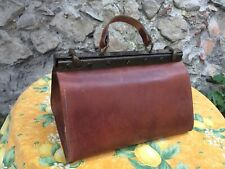 Usable Vintage French Medical Doctors Bag Leather Purse Case Brown Solid Mint