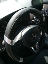 Rare Edition Black + Silver PU Leather Steering Wheel Cover Stylish Good Handle