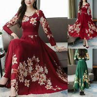 Fashion Women O-Neck Long Sleeve Long Dresses Floral Print A-line Dress New