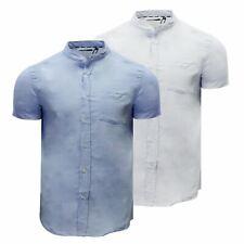 Mens Shirt Brave Soul Tribune Grandad Collar Oxford Slim fit Short Sleeved