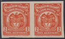COLOMBIA 1927 REVENUES TIMBRE NACIONAL Anyon 412 PAIR IMPERF PROOF UNUSED