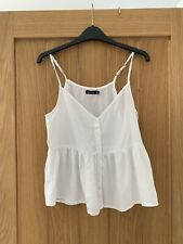 Ladies White Cami/strappy/vest Top Boohoo Size 8 Brand New Without Tags