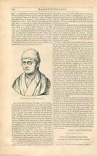 Buste Jehan Froissart par Louis Auvray/Gaston-Phébus GRAVURE ANTIQUE PRINT 1838