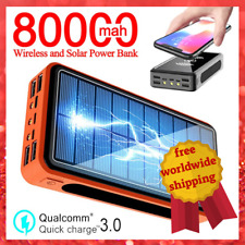 Portable Power Bank 80000mAh Solar Battery Pack Wireless Charger with LED 4 USB