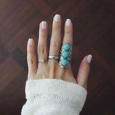 Anillo ajustable turquesas plata Tibetana anillo tallado boho etnico anillo chic