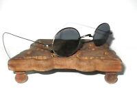 Antique Smoky Sunglasses Vtg Old Civil War Steampunk Gray Goth Vampire Glasses