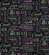 Sewing Words 100% cotton fabric Fat Quarter for face masks or crafts