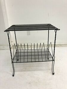 Vintage RECORD RACK mid century modern wire metal stand side table lp 33 storage
