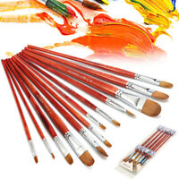 6/12Pcs Artist es Oil Paint  Set Red Sable Hair Acrylic Drawing  New