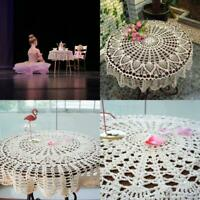 OurHommie New Beige 36'' Round Handmade Crochet Sunflower Lace Table Cloth Doily