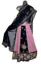 SAREE Navy and Pink Embellished Skirt Shawl PARTY WEAR WEDDING & BRIDAL SARI