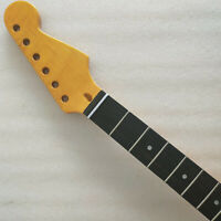 Yellow Guitar Neck 22 Fret Maple ebony fingerboard pearl dot inlay 25.5 inches