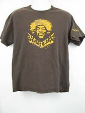 Jimi Hendricks Head in Gold Signature Printed on Sleeve Graphic T-Shirt M/L