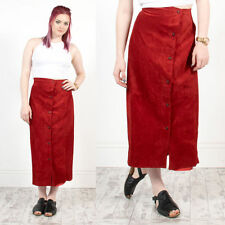 WOMENS VINTAGE BRIGHT RED SUEDE HIGH WAIST BUTTON DOWN MIDI LENGTH SKIRT 14